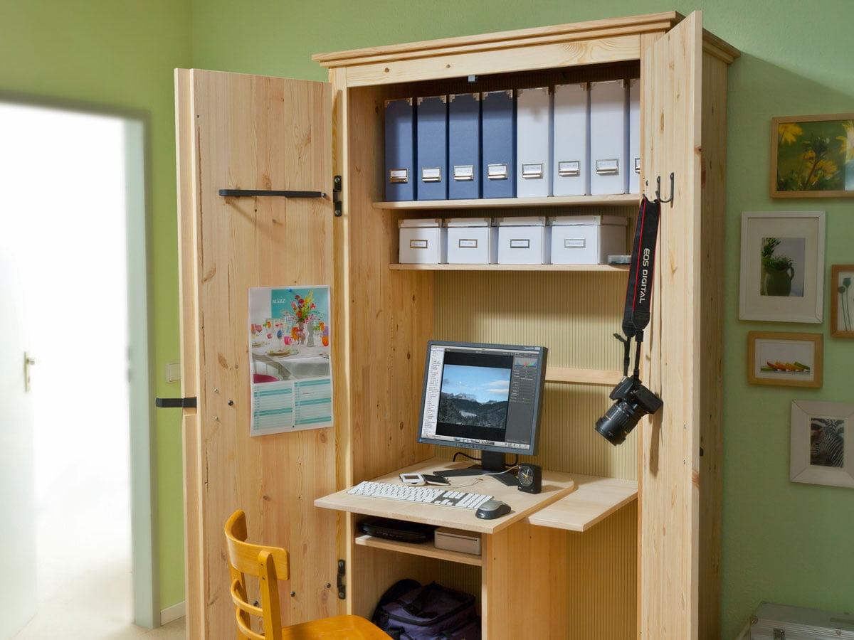 Arbeitsplatz: kleines Büro im Schrank  selbermachen.de