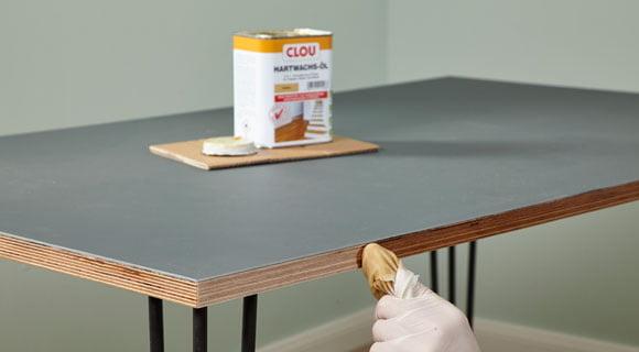 Schreibtisch mit Linoleumbelag selber bauen |